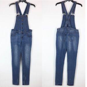 Tinseltown denim button front overalls